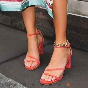 Bared footwear swan sandal in pomegranate